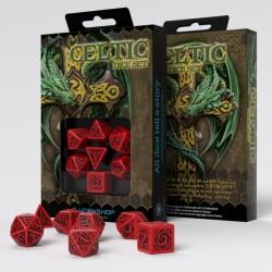 Celtic 3D Revised Red & black Dice Set (7)
