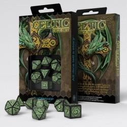 Celtic 3D Revised Black & green Dice Set (7)