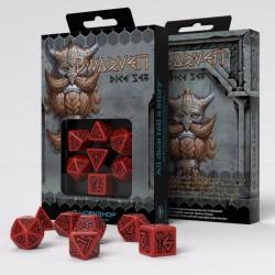 Dwarven Red & black Dice Set (7)