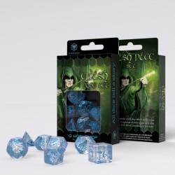 Elvish Translucent & blue Dice Set (7)