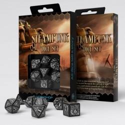 Steampunk Black & white Dice Set (7)