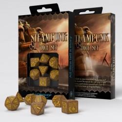Steampunk Brown & yellow Dice Set (7)