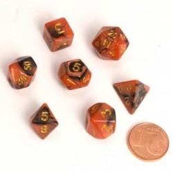 Fairy Dice RPG Set - BiColor Black Orange (7 Dice)