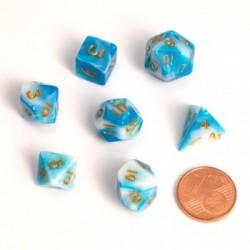 Fairy Dice RPG Set - BiColor Blue White (7 Dice)