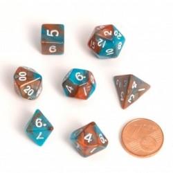 Fairy Dice RPG Set - BiColor Orange Blue (7 Dice)