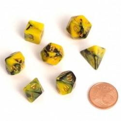 Fairy Dice RPG Set - BiColor Yellow Black (7 Dice)