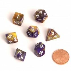 Fairy Dice RPG Set - BiColor Yellow Purple (7 Dice)