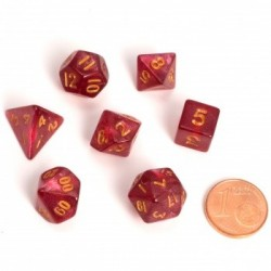 Fairy Dice RPG Set - Marbled Red (7 Dice)