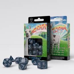 Shimmering Llama Dice Set (Glittering Dark Blue & White)