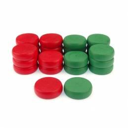 Piezas rojas y verdes de Crokinole