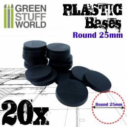 Peanas de Plástico - Redondas 25mm NEGRO