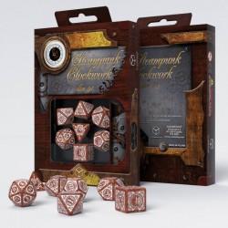 Steampunk Clockwork Caramel & white Dice Set (7)
