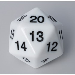 D20 Countdown Die 55 mm - White